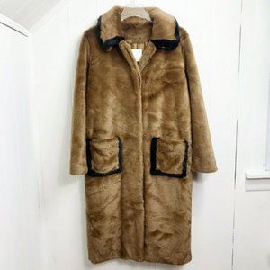 Sandro Womens Faux Fur Long Sleeve Long Coat
